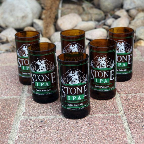 Stone IPA Six Pack 8 ounce glasses made from upcycled bottles by Pic76, $25.00