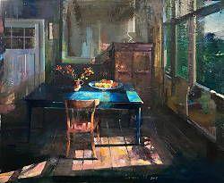 Kamer met blauwe tafel | schilderij in olieverf van Simeon Nijenhuis | Exclusieve kunst online te koop bij Galerie Wildevuur