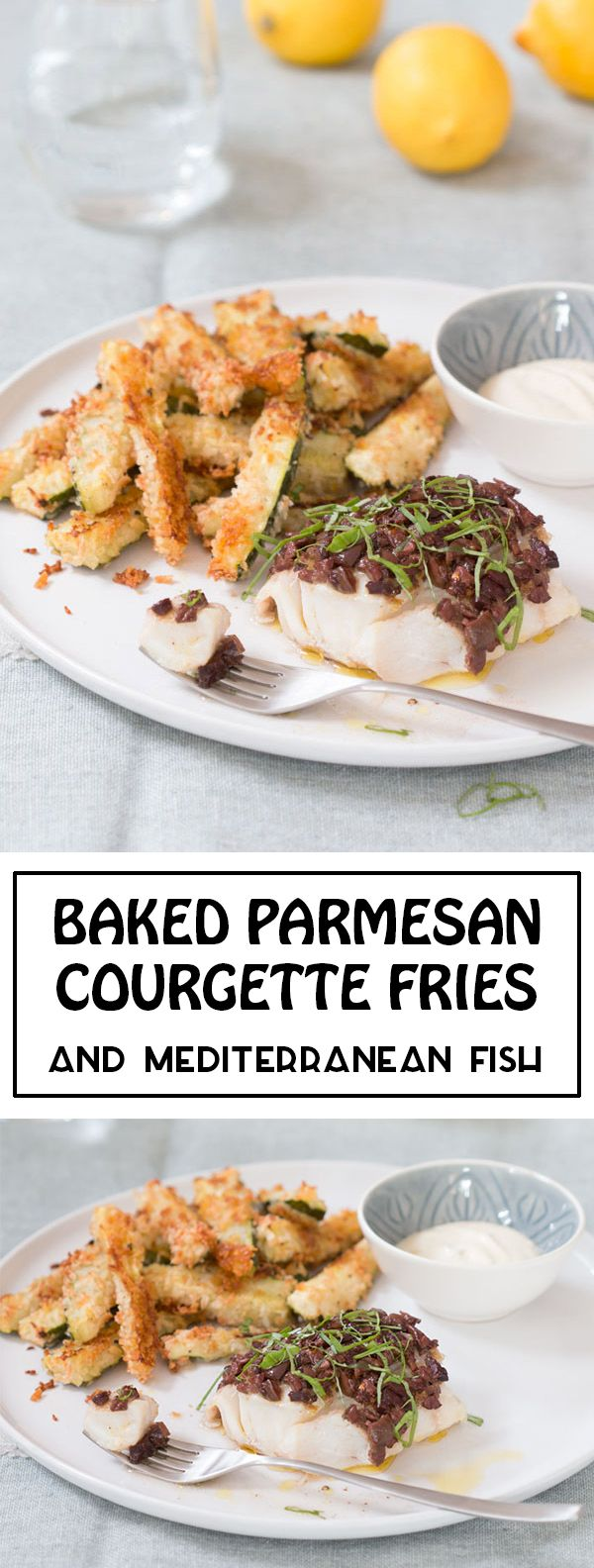 A Single Portion One-Tray-Bake meal for one.   Delicious Baked Parmesan Courgette Fries and Fiery Mediterranean Fish, served with a Lemony Mayonnaise Dip.    Check out my blog for more single portion recipe for one.