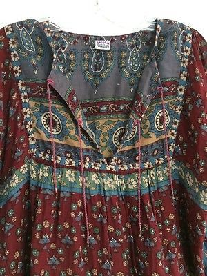 Винтаж индия хлопчатобумажной марли Geeta блузка или топ или рубашка туника ХИППИ, БОГЕМНЫЙ Кейт зима
