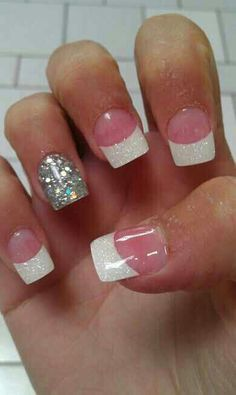 Solar nails with a glittery accent nail. Read the truth about solar nails on http://producingfashion.com/next-mani-truth-solar-nails/#!prettyPhoto