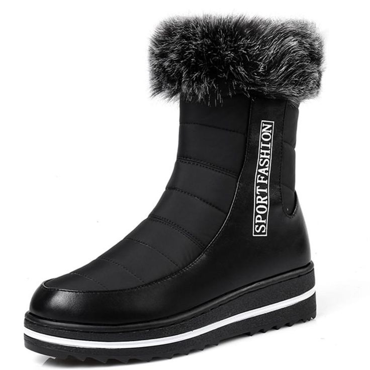 Big size 35-44 Short snow boots high quality thick fur winter ankle boots for women zip platform shoes waterproof botas