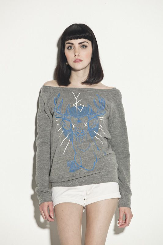 the Deer God boatneck sweatshirt by Young Ghosts