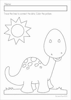 Dinosaur Preschool Math and Literacy No Prep worksheets and activities. A page from the unit: fine motor tracing practice.