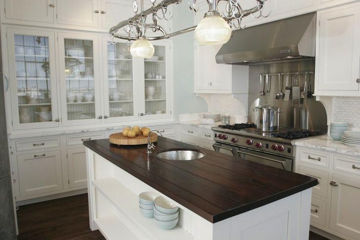 Small White Kitchen Design; Butcher Block Island
