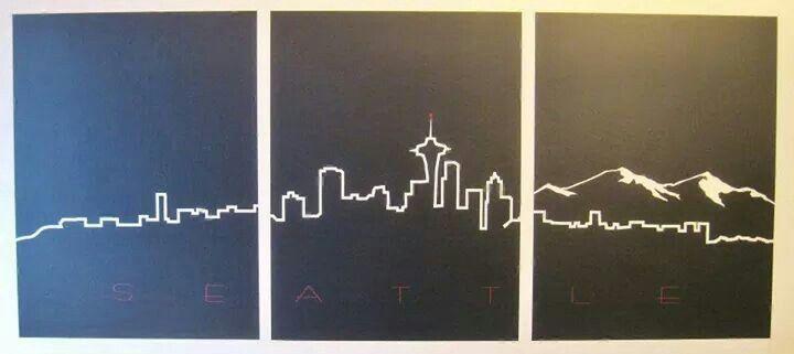 Seatle skyline in wall vinyl