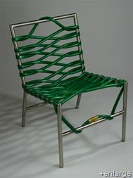 A garden hose chair. Very chic for the backyard.
