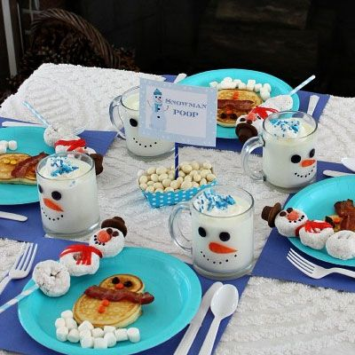 #Christmas Breakfast Recipes - Snowman Breakfast for the Kids - 22 Delicious Christmas Morning Breakfast Ideas