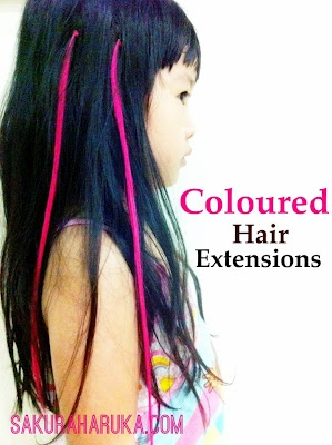 Little Girls Hairstyles: Coloured Hair Extensions. Coco is getting these in her stocking from Santa! She has been asking for about a year and we decided to let her do it. Excited to find the same color Coco picked and on an Asian girl!