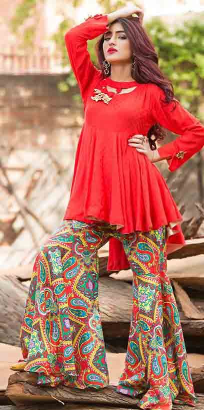 New red short frock with multicolor sharara Zahra Ahmad Eid dresses for girls in Pakistan