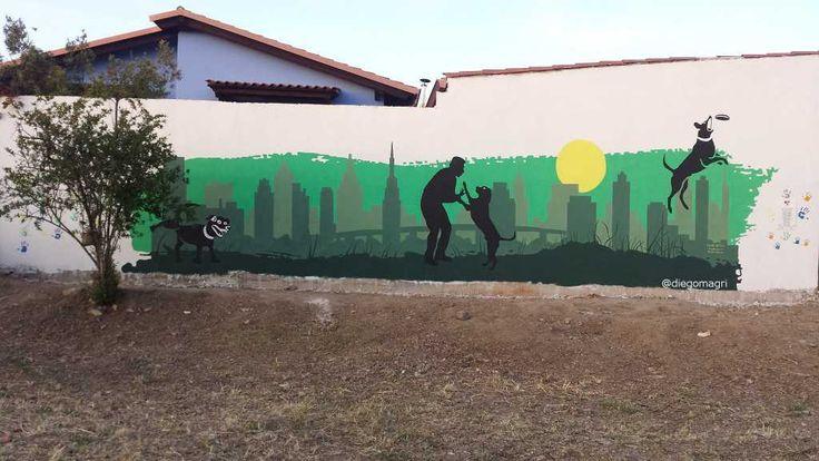 San Sperate (Ca) - Un murale relizzato a San Sperate dal gruppo Colore Antigu in occasione dell'inaugurazione della prima e vasta Area Cani del nuovo Parco Su..  #sansperate #sardegna #italia #murales #areacani #amicia4zampe #dogs #cani #tributo #mongrel
