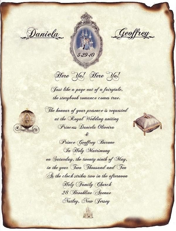 FairyTale Castle Cinderella Wedding Scroll Invitations & Response Cards- Might be cool for the wording of the invites. Description from pinterest.com. I searched for this on bing.com/images