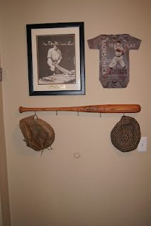 baseball coat hanger cute idea for kid, after all Evan is named after an A's player
