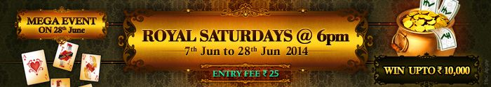 Make every Saturday exciting by taking part in Royal Saturdays Tournament at #Adda52Rummy! Book your seat for just Rs.25 and win huge cash prizes!