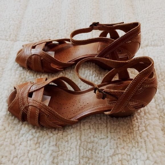 6c07f58b4868 Clarks Artisan Leather Sandals Size 5. Peep toe. Low wedge heel. Brown in  color. Excellent condition. Clarks Artisan Shoes Sandals