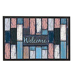 Modern Rustic Welcome Door Mats Wood Home Floor Mat Indoor Outdoor Bath Mat House Door Rug Funny Wooden Design Anti-Slip Front Door Decor 23.6 x 15.7″