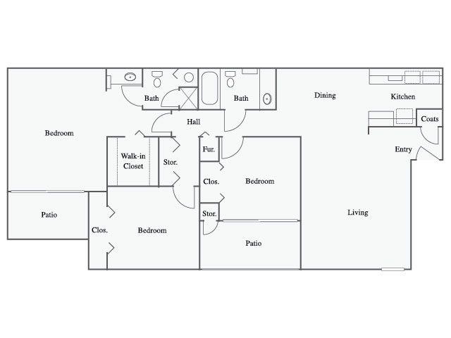 3 Bedroom, 3 Bath Floor Plan With 704 Sq. Feet Of Living Space |