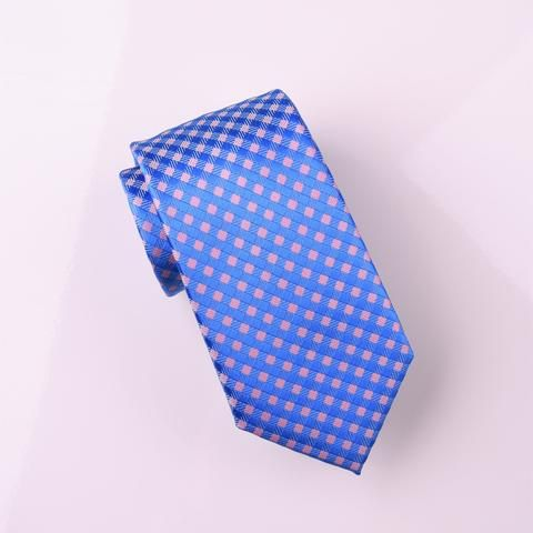 Pink & Blue Luxury Basketweave Neat Geometric Modern Tie 3""