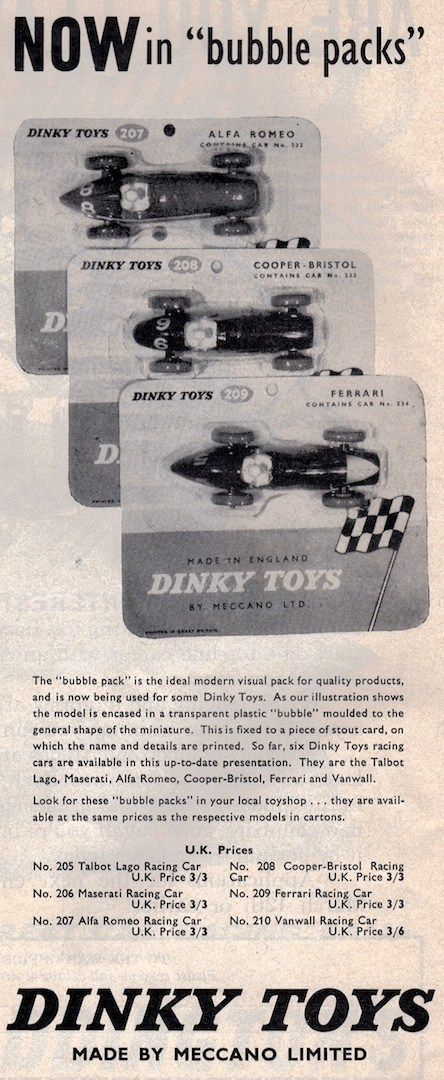 "Dinky Toys Now in ""bubble packs"""