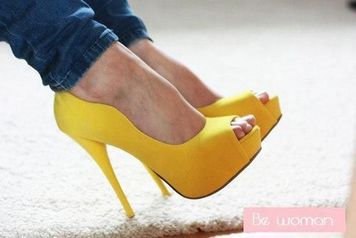 Yellow high heels, Pump and Yellow heels on Pinterest