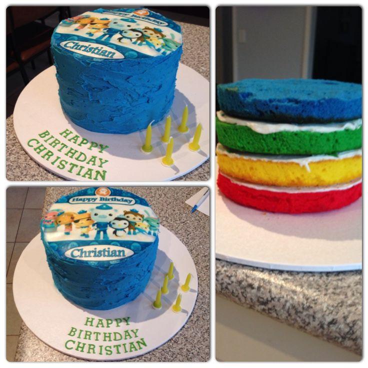 Octonauts rainbow cake I made. #octonauts #rainbow #cake