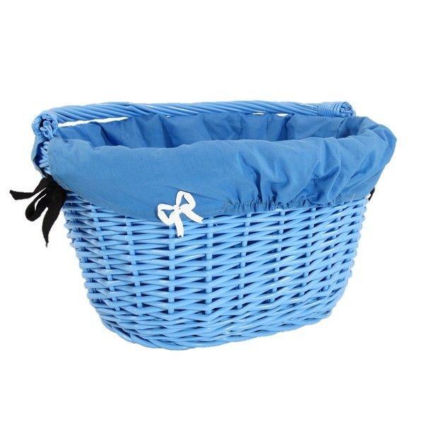 Wiklinowy kosz na rower błękitny z  niebieskim obszyciem + kokardka