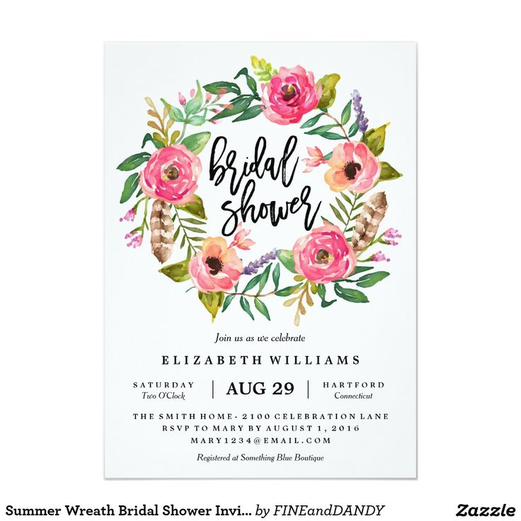 Summer Wreath Bridal Shower Invitation
