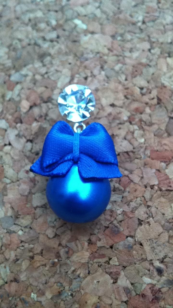 Blauwe strik met blauwe parel