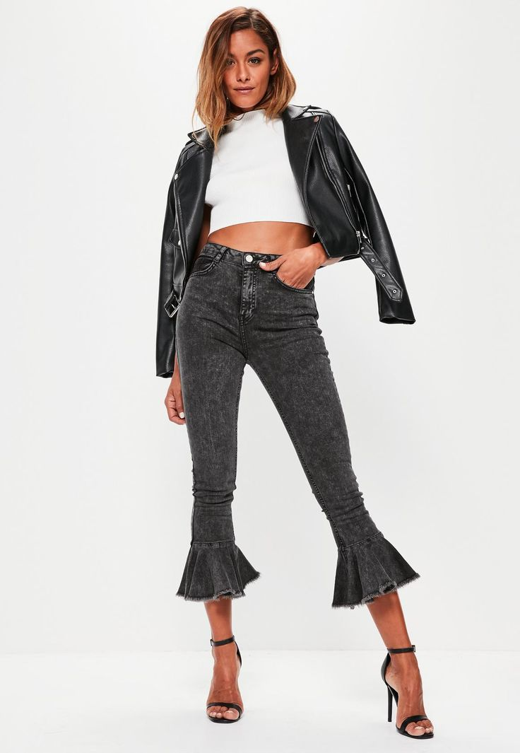Missguided - Black Sinner High Waisted Frill Flare Jeans