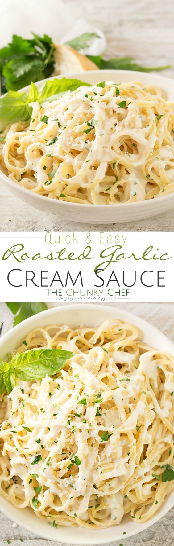 Roasted-Garlic-Cream-Sauce Just a few ingredients make up this luxuriously creamy roasted garlic cream sauce... perfect for dipping or swirled with your favorite pasta!
