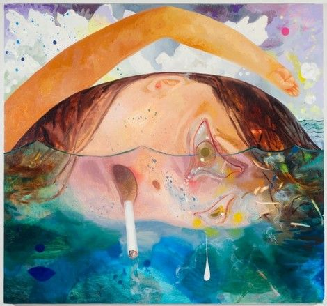 Dana Schutz, Swimming, Smoking, Crying on ArtStack #dana-schutz #art
