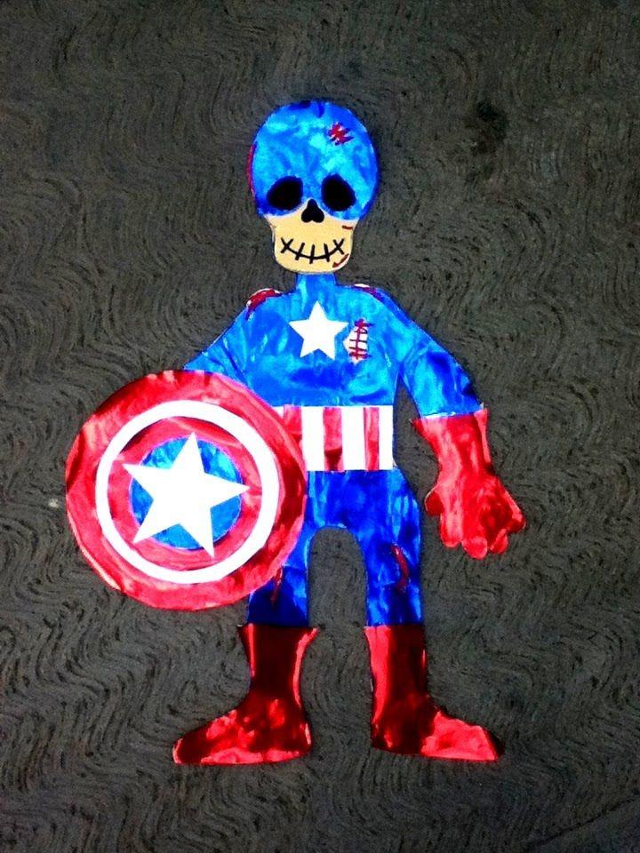Viste calavera de papel en Capitan America, suscribete a mi canal en Youtube
