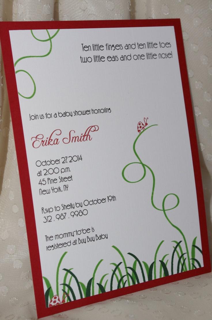 baby shower bbq invitation templates%0A Ladybug Baby Shower Invitations