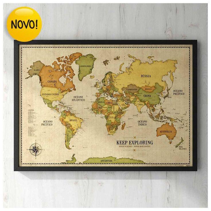 Pôster Premium - Mapa-Múndi Vintage A1 com Moldura + 100 Pins Alfinetes para Registrar suas Lembranças