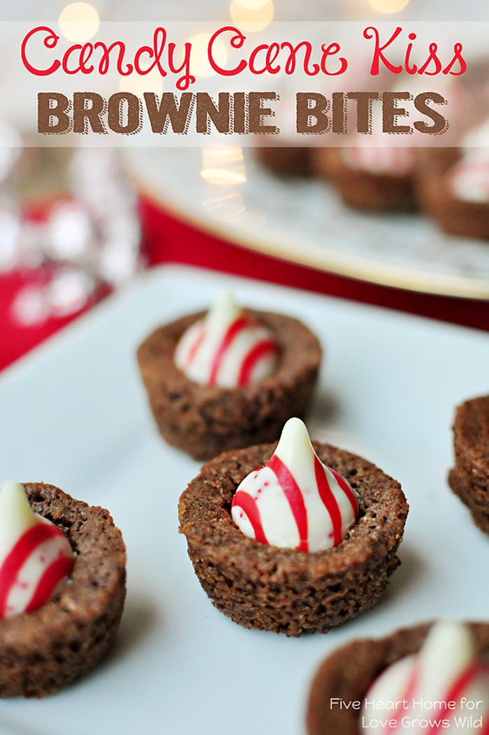 Candy Cane Kiss Brownie Bites - perfect for your holiday cookie platter! Moist, fudgey brownies pair perfectly with candy cane white chocolate kisses!