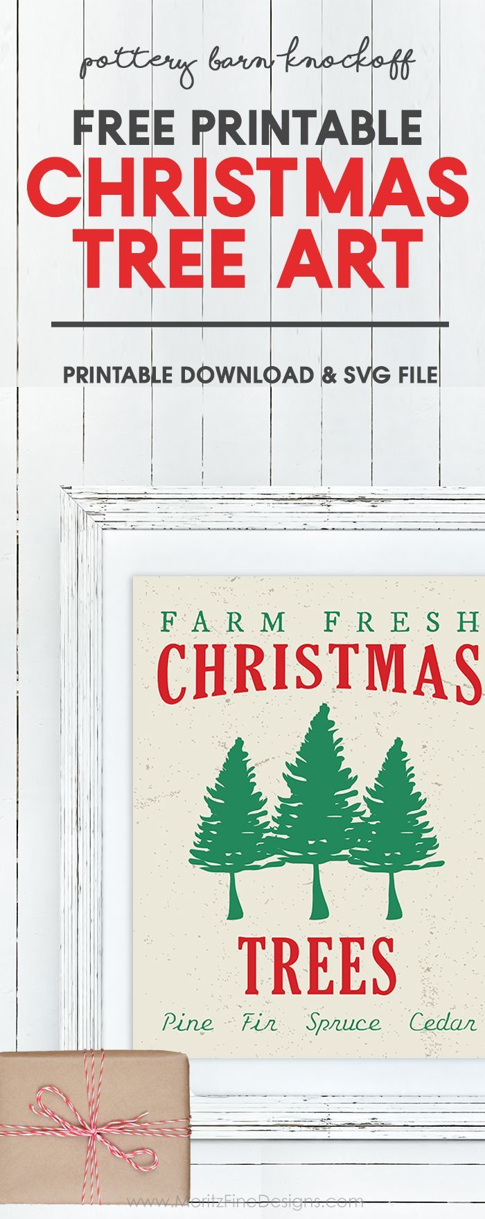 Update your Christmas Decor with this free printable Pottery Barn knockoff Christmas Tree Art Printable. The design is also available in an svg cut file for your Cricut or Silhouette Machine. I made it into an oversize print for poster size!  #christmasdecoration #freeprintable #diychristmasdecor #christmasprintables #christmastree #christmasdecor