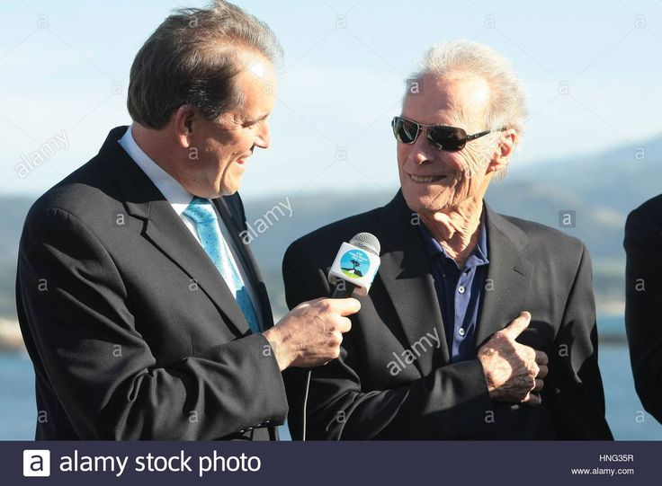 Pebble Beach, USA. 12th Feb, 2017. Pebble Beach, California, USA Jim Nantz of CBS and Clint Eastwood actor and director of Pebble Beach at the prize presentation of the famous AT&T Pro-Am,
