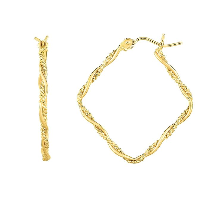 Karat Rushs 14kt Gold Tube Hoop Fancy Earrings, Women's Earring dimensions: 31 mm high x 27 mm wide x 2 mm deep This product will ship to you in one 1 box - Earring dimensions: 31 mm high x 27 mm wide x 2 mm deep This product will ship to you in one