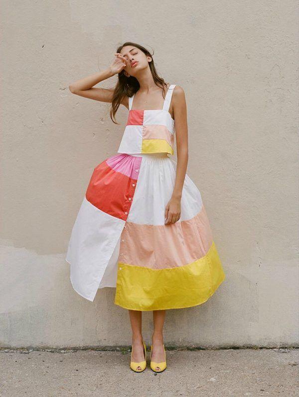 Beautiful: Mara Hoffman patchwork cami and skirt for spring 2017.