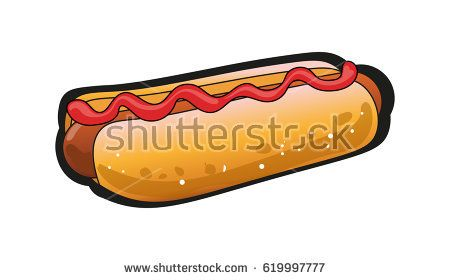 Raster image of the sandwich with hot sausage and ketchup.