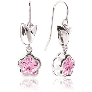 BFlower Leaf Dangle French Wire Silver Earrings in Rose from www.thejewelryvine.com