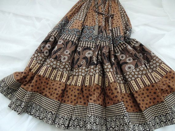 Whimsy Long Patchwork Gypsy Skirt by 1000Colors on Etsy, $115.00