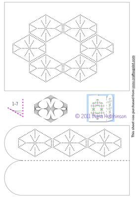 Hexagon Card Front on Craftsuprint designed by Diana Hutchinson - A stitching pattern for a hexangonal design for a card front and bookmark. - Now available for download!