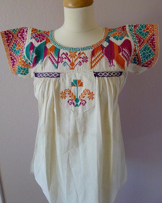 Flores de bordado blusa VINTAGE mexicana Juquila Oaxaca cruz