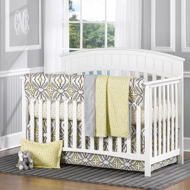 Enter to win a fab 4-piece bumperless crib bedding set from @Liz and Roo: Fine Baby Bedding! #win #giveaway:  Cots, Babies, Yellow Eden, Baby Bedding, Nurseries, Crib Bedding Sets, Baby Beds, Cribs Beds Sets, Gray