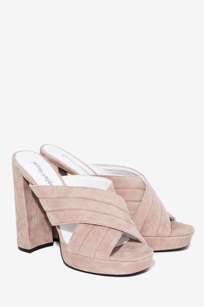 Jeffrey Campbell Kenobi Suede Mule - Taupe - Shoes   Heels