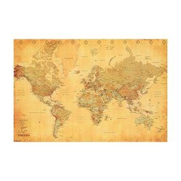 Art.com - World Map Vintage Style Poster