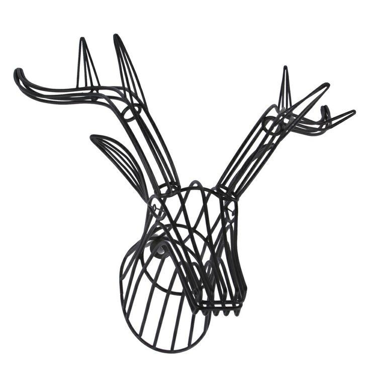 Wire stag head wall decoration black white homewares pinterest stag head wire and - Decorative stags head ...