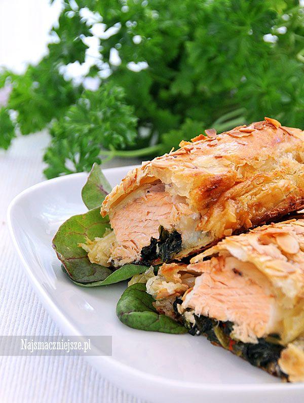 Łosoś pieczony ze szpinakiem, łosoś ze szpinakiem, łosoś, szpinak, http://najsmaczniejsze.pl #food #łosoś #salmon #szpinak