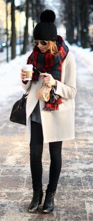 #winter #fashion / tartan plaid + cream coat